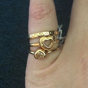 Coach Three Ring - stacking set - size 7.5 - heart